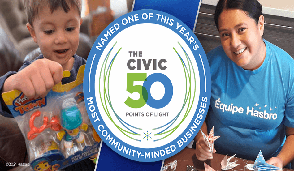 Hasbro Named one of Civic 50 Most Community-Minded Companies in the U.S.