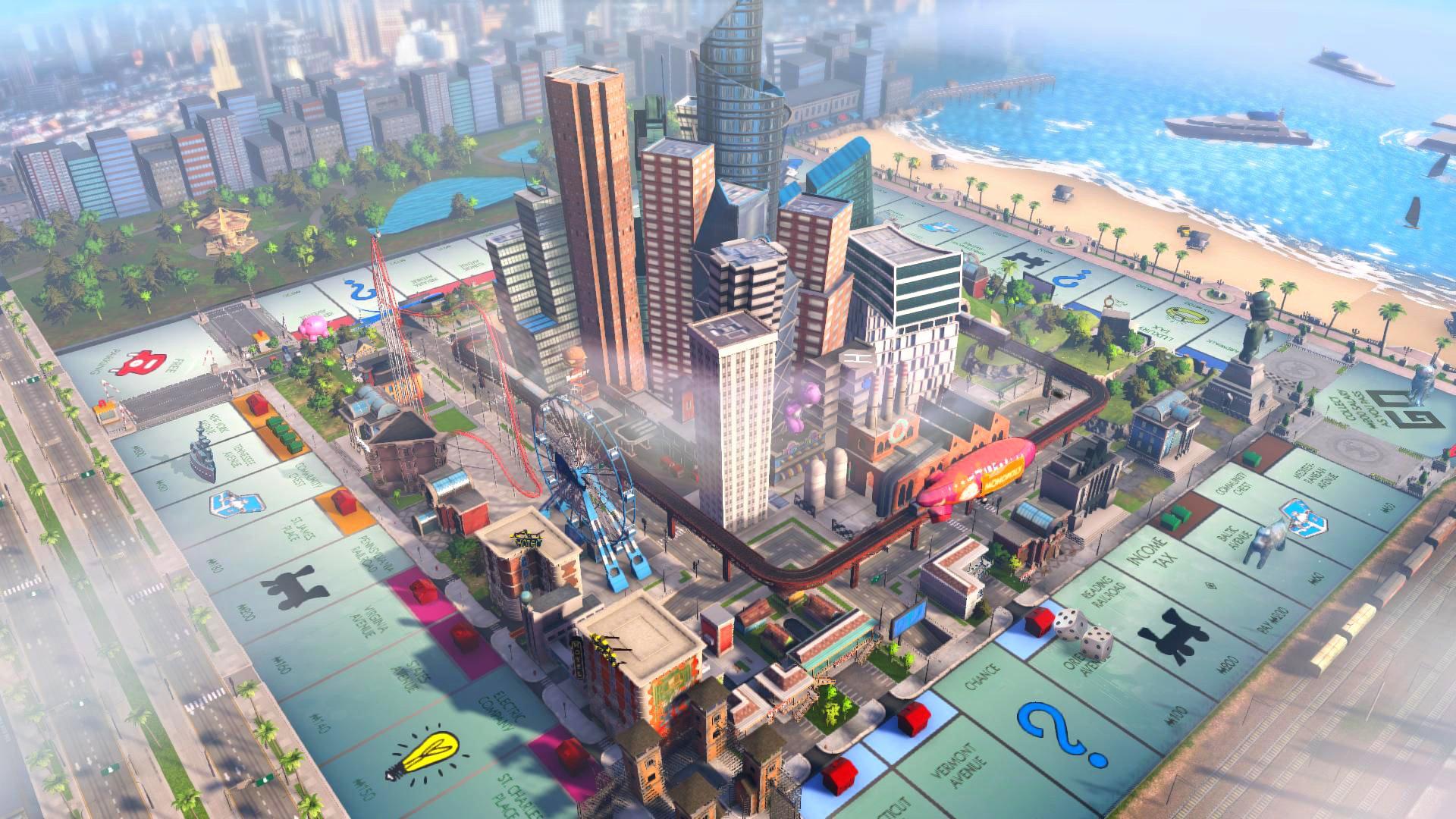 3D-stad in het midden van het Monopoly-bord