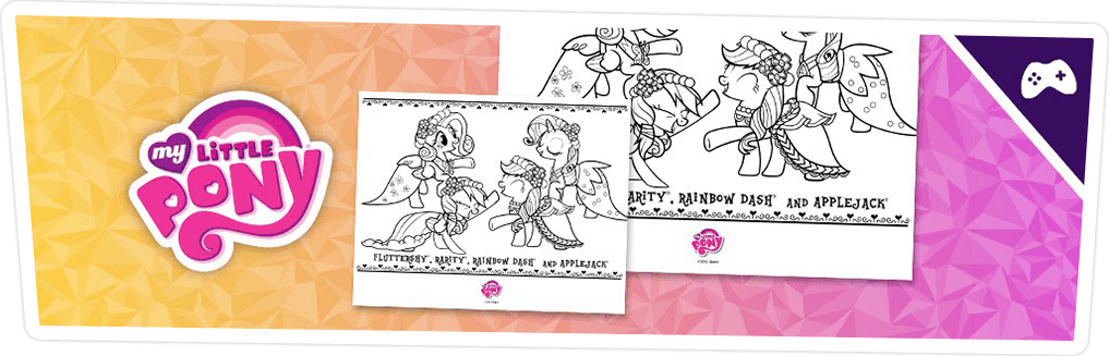 COLORING PAGE: FLUTTERSHY, RAINBOW DASH, RARITY & APPLEJACK